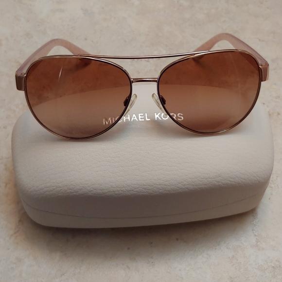 Michael Kors Sunglasses Rose Gold Aviator Womens